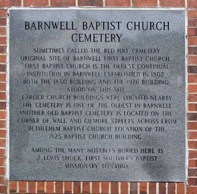 Barnwell Baptist Church Cemetery Marker image. Click for full size.
