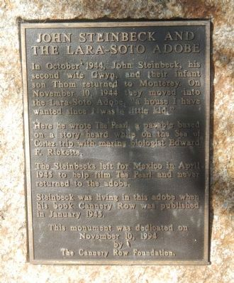John Steinbeck and the Lara-Soto Adobe Marker image. Click for full size.
