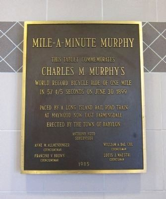Plaque commemorating Mile-A-Minute Murphy's World Record Bicycle Ride image. Click for full size.