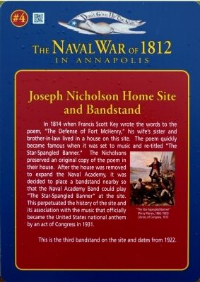 Joseph Nicholson Home Site and Bandstand Marker image. Click for full size.