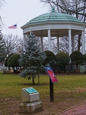 Joseph Nicholson Home Site and Bandstand Marker & the 1922 Zimmerman Bandstand image. Click for full size.