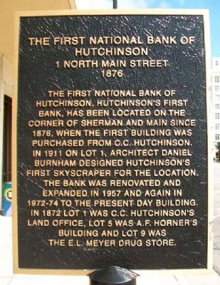 The First National Bank of Hutchinson Marker image. Click for full size.