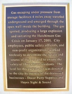 Hutchinson Gas Crisis Marker image. Click for full size.