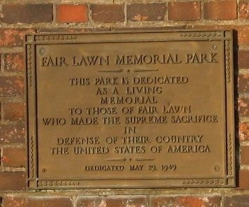 Fair Lawn Memorial Park Marker image. Click for full size.