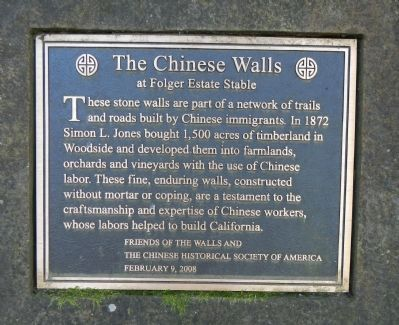 The Chinese Walls at Folger Estate Stable Marker image. Click for full size.