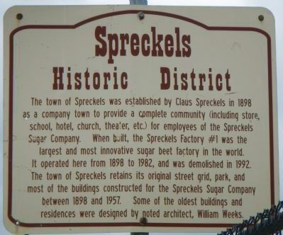 Spreckels Historic District Marker image. Click for full size.