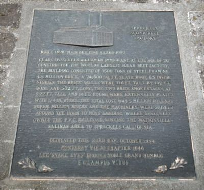 Spreckels Sugar Beet Factory Marker image. Click for full size.