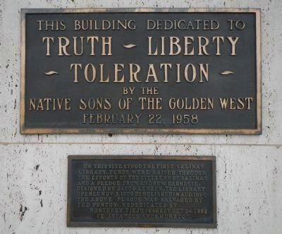 Site of the First Salinas Library Marker image. Click for full size.