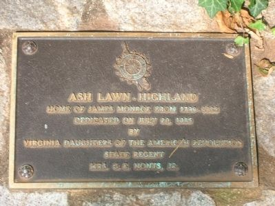 Ash Lawn - Highland Marker image. Click for full size.