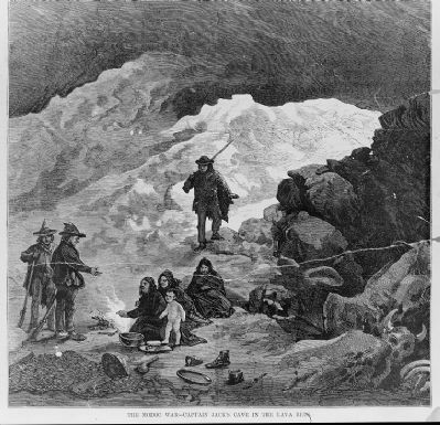 <i>The Modoc War - Captain Jack&#39;s Cave in the Lava Beds</i> image. Click for full size.