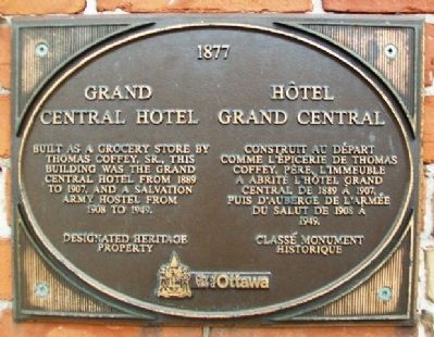 Grand Central Hotel / H�tel Grand Central Marker image. Click for full size.