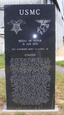 "PFC Raymond ""Mike"" Clausen Memorial (rear) image. Click for full size."
