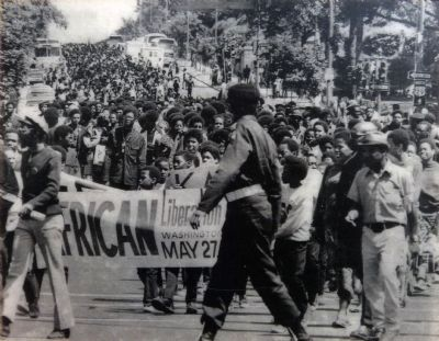 African Liberation Day marchers poured out of the park in 1972. Photo, Click for full size