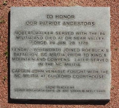 To Honor Our Patriot Ancestors Marker image. Click for full size.