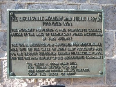 The Riegelsville Academy and Public Library Marker image. Click for full size.