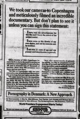 Day of Premiere Advertisement for De Renzy&#39;s <i>Pornography in Denmark: A New Approach</i> image. Click for full size.