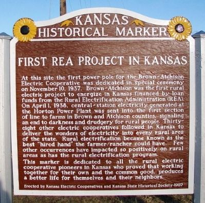 First REA Project in Kansas Marker image. Click for full size.