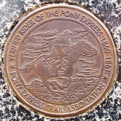 Don Clarence Rising Certified Rider Medallion on Marker image. Click for full size.