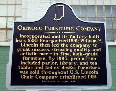 Orinoco Furniture Company Marker (Front) image. Click for full size.