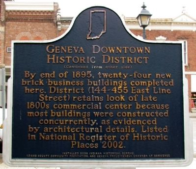 Geneva Downtown Historic District Marker (Back) image. Click for full size.