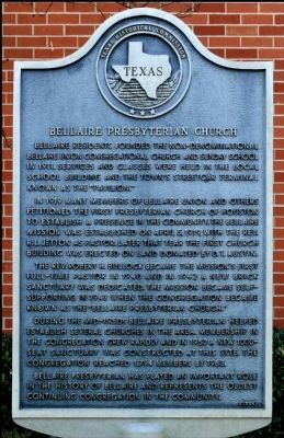 Bellaire Presbyterian Church Marker image. Click for full size.
