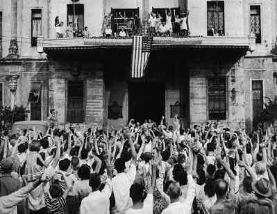 Liberation of the internment camp at the University of Santo Tomas in 1945 image. Click for full size.