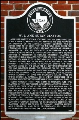 W. L. and Susan Clayton Marker image. Click for full size.