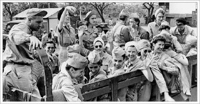 U.S. Army Nurses, rescued after three years confinement at Santo Tomas and heading for home. Photo, Click for full size