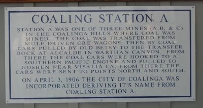 Coaling Station A Marker image. Click for full size.