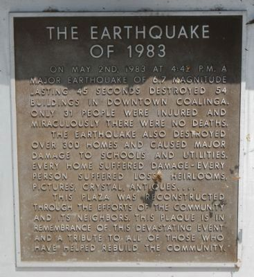 The Earthquake of 1983 Marker image. Click for full size.