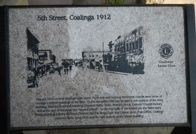 5th Street, Coalinga 1912 Marker image. Click for full size.