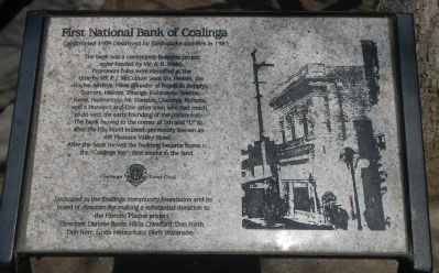 First National Bank of Coalinga Marker image. Click for full size.