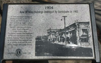 Row of Store Buildings Destroyed By Earthquake in 1983 Marker image. Click for full size.