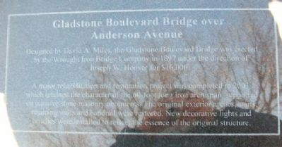 Gladstone Boulevard Bridge over Anderson Avenue Marker image. Click for full size.