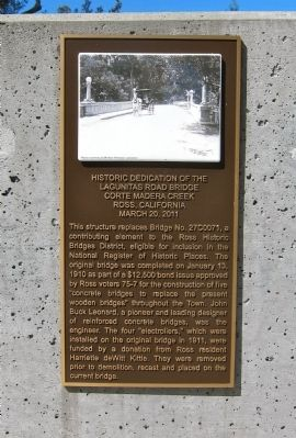 Historic Dedication of the Lagunitas Road Bridge Marker image. Click for full size.