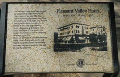 Pleasant Valley Hotel Marker image. Click for full size.