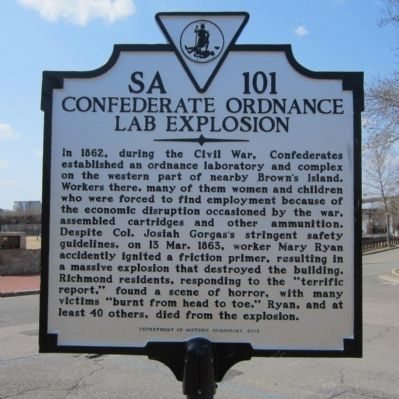 Confederate Ordnance Lab Explosion Marker image. Click for full size.