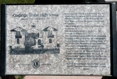 Coalinga Union High School Marker image. Click for full size.