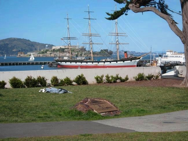 First Ship Marker, Balclutha, Alcatraz, and Angel Island image. Click for full size.