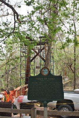 Town of Leno Marker,Located near the suspension bridge in O'Leno State Park image. Click for full size.