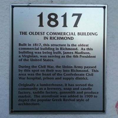 The Oldest Commercial Building in Richmond Marker image. Click for full size.