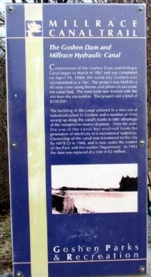The Goshen Dam and Millrace Hydraulic Canal Marker image. Click for full size.