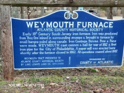 Weymouth Furnace Marker image. Click for full size.