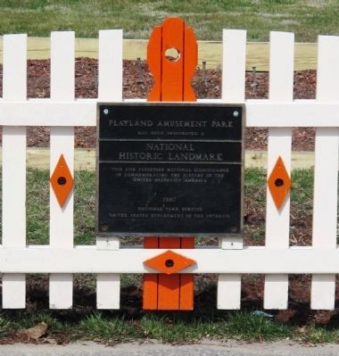 Playland Amusement Park Marker - Close-up image. Click for full size.