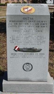 Rackheath Station 145 467th Bombardment Group Marker, south face image. Click for full size.