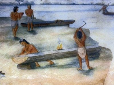 American Indians making Dug-out canoes image. Click for full size.