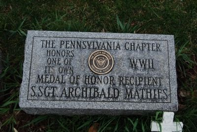 Sergeant Mathies' Medal of Honor stone image. Click for full size.