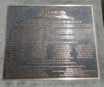 The Steamboat Jenny Lind Disaster Marker image. Click for full size.