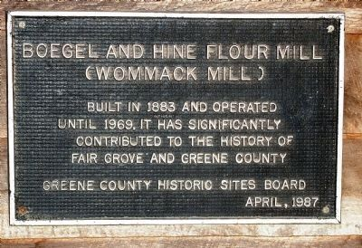 Boegel & Hine (Wommack) Flour Mill Marker image. Click for full size.