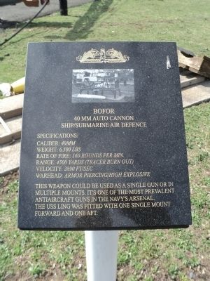 Bofor 40 MM Auto Cannon Historical Marker